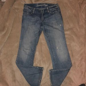 Stylish light wash American eagle boot cut jeans
